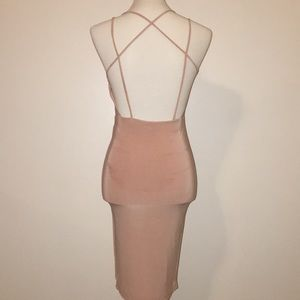 Windsor Dresses - Windsor Blush Colored Backless Midi Bodycon Dress